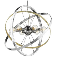 Golden Lighting 7936-6-CH-AB-CH Atom 6 Light 28 inch Chrome and Aged Brass Chandelier Ceiling Light