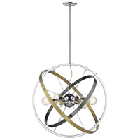 Golden Lighting 7936-6-CH-BS-AB Atom 6 Light 28 inch Chrome and Brushed Steel with Aged Brass Chandelier Ceiling Light alternative photo thumbnail