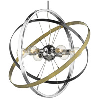 Golden Lighting 7936-6-CH-BS-AB Atom 6 Light 28 inch Chrome and Brushed Steel with Aged Brass Chandelier Ceiling Light