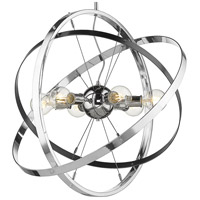Golden Lighting 7936-6-CH-BS-CH Atom 6 Light 28 inch Chrome and Brushed Steel Chandelier Ceiling Light