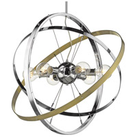 Golden Lighting 7936-6-CH-CH-AB Atom 6 Light 28 inch Chrome and Aged Brass Chandelier Ceiling Light