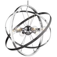 Golden Lighting 7936-6-CH-CH-BS Atom 6 Light 28 inch Chrome and Brushed Steel Chandelier Ceiling Light