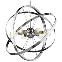 Golden Lighting 7936-6-CH-CH-CH Atom 6 Light 28 inch Chrome Chandelier Ceiling Light