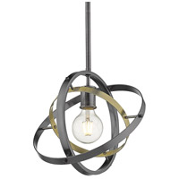 Golden Lighting 7936-M-BS-AB-BS Atom 1 Light 12 inch Brushed Steel and Aged Brass Pendant Ceiling Light Convertible to Semi-Flush