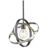 Golden Lighting 7936-M-BS-AB-CH Atom 1 Light 12 inch Brushed Steel and Aged Brass with Chrome Pendant Ceiling Light Convertible to Semi-Flush