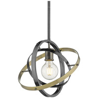 Golden Lighting 7936-M-BS-BS-AB Atom 1 Light 12 inch Brushed Steel and Aged Brass Pendant Ceiling Light Convertible to Semi-Flush