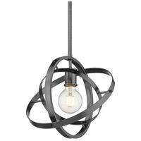 Golden Lighting 7936-M-BS-BS-BS Atom 1 Light 12 inch Brushed Steel Pendant Ceiling Light Convertible to Semi-Flush