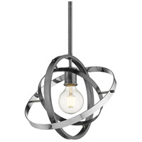 Golden Lighting 7936-M-BS-BS-CH Atom 1 Light 12 inch Brushed Steel and Chrome Pendant Ceiling Light Convertible to Semi-Flush