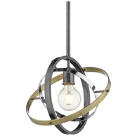 Golden Lighting 7936-M-BS-CH-AB Atom 1 Light 12 inch Brushed Steel and Chrome with Aged Brass Pendant Ceiling Light Convertible to Semi-Flush