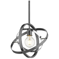 Golden Lighting 7936-M-BS-CH-BS Atom 1 Light 12 inch Brushed Steel and Chrome Pendant Ceiling Light Convertible to Semi-Flush