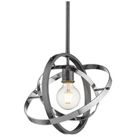 Golden Lighting 7936-M-BS-CH-CH Atom 1 Light 12 inch Brushed Steel and Chrome Pendant Ceiling Light Convertible to Semi-Flush