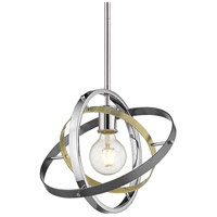 Golden Lighting 7936-M-CH-AB-BS Atom 1 Light 12 inch Chrome and Aged Brass with Brushed Steel Pendant Ceiling Light Convertible to Semi-Flush