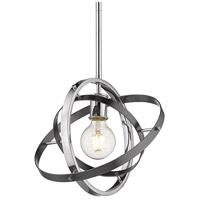 Golden Lighting 7936-M-CH-BS-BS Atom 1 Light 12 inch Chrome and Brushed Steel Pendant Ceiling Light Convertible to Semi-Flush