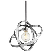 Golden Lighting 7936-M-CH-BS-CH Atom 1 Light 12 inch Chrome and Brushed Steel Pendant Ceiling Light Convertible to Semi-Flush