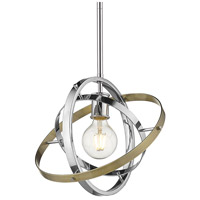 Golden Lighting 7936-M-CH-CH-AB Atom 1 Light 12 inch Chrome and Aged Brass Pendant Ceiling Light Convertible to Semi-Flush