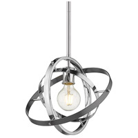 Golden Lighting 7936-M-CH-CH-BS Atom 1 Light 12 inch Chrome and Brushed Steel Pendant Ceiling Light Convertible to Semi-Flush