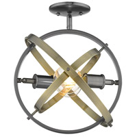 Golden Lighting 7936-SF-BS-AB-AB Atom 2 Light 14 inch Brushed Steel and Aged Brass Semi-Flushmount Ceiling Light alternative photo thumbnail