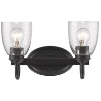 Golden Lighting 8001-BA2-BLK-SD Parrish 2 Light 14 inch Black Bath Vanity Wall Light