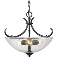 Parrish 3 Light 17 inch Black Semi-Flush Mount Ceiling Light, Convertible