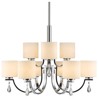 Golden Lighting 8037-9-CH-OP Evette 9 Light 33 inch Chrome Chandelier Ceiling Light 2 Tier
