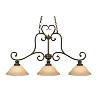 Golden Lighting Heartwood 3 Light Island Light in Burnt Sienna with Tea Stone Glass 8063-10-BUS