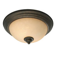 Golden Lighting Heartwood 2 Light Flush Mount in Burnt Sienna with Tea Stone Glass 8063-13-BUS