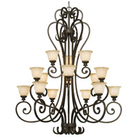 Golden Lighting Heartwood 15 Light Chandelier in Burnt Sienna 8063-15L-BUS