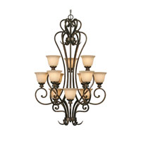 Heartwood 12 Light 33 inch Burnt Sienna Chandelier Ceiling Light, 3 Tier