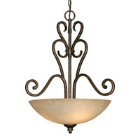 Golden Lighting Heartwood 3 Light Bowl Pendant in Burnt Sienna with Tea Stone Glass 8063-3P-BUS