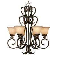 Golden Lighting Heartwood 6 Light Chandelier in Burnt Sienna with Tea Stone Glass 8063-6-BUS