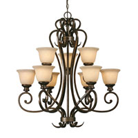Golden Lighting 8063-9-BUS Heartwood 9 Light 33 inch Burnt Sienna Chandelier Ceiling Light, 2 Tier alternative photo thumbnail