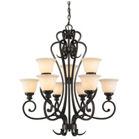 Golden Lighting 8063-9-BUS Heartwood 9 Light 33 inch Burnt Sienna Chandelier Ceiling Light, 2 Tier photo thumbnail