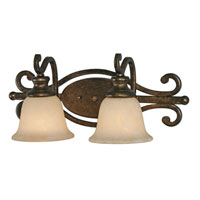 Golden Lighting Heartwood 2 Light Bath Fixture in Burnt Sienna with Tea Stone Glass 8063-BA2-BUS