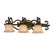 Golden Lighting Heartwood 3 Light Bath Fixture in Burnt Sienna with Tea Stone Glass 8063-BA3-BUS