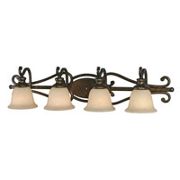 Golden Lighting Heartwood 4 Light Bath Fixture in Burnt Sienna with Tea Stone Glass 8063-BA4-BUS