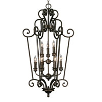 Golden Lighting Heartwood 9 Light Caged Foyer in Burnt Sienna with Drip Candlesticks 8063-CG9-BUS