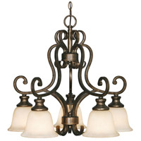 Golden Lighting Heartwood 5 Light Mini Chandelier in Burnt Sienna 8063-D5-BUS