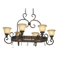 Golden Lighting Heartwood 8 Light Chandelier in Burnt Sienna with Tea Stone Glass 8063-PR62-BUS