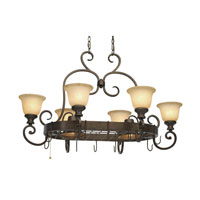Heartwood 8 Light 42 inch Burnt Sienna Pot Rack Ceiling Light