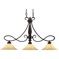 Golden Lighting Torbellino 3 Light Linear Pendant in Cordoban Bronze 8106-10-CDB