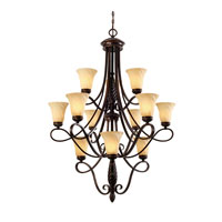 Golden Lighting Torbellino 12 Light Chandelier in Cordoban Bronze with Remolino Glass 8106-363-CDB