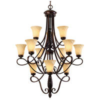 Torbellino 12 Light 38 inch Cordoban Bronze Chandelier Ceiling Light, 3 Tier