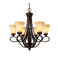 Golden Lighting Torbellino 6 Light Chandelier in Cordoban Bronze with Remolino Glass 8106-6-CDB