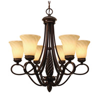 Golden Lighting 8106-6-CDB Torbellino 6 Light 28 inch Cordoban Bronze Chandelier Ceiling Light