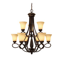 Golden Lighting Torbellino 9 Light Chandelier in Cordoban Bronze with Remolino Glass 8106-9-CDB
