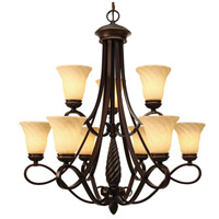 Golden Lighting 8106-9-CDB Torbellino 9 Light 34 inch Cordoban Bronze Chandelier - Large Ceiling Light 2 Tier
