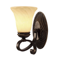 Golden Lighting Torbellino 1 Light Wall Sconce in Cordoban Bronze with Remolino Glass 8106-BA1-CDB
