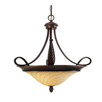 Golden Lighting Torbellino 3 Light Bowl Pendant in Cordoban Bronze with Remolino Glass 8106-BP3-CDB