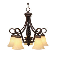 Golden Lighting Torbellino 5 Light Chandelier in Cordoban Bronze with Remolino Glass 8106-D5-CDB