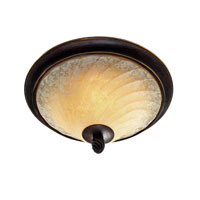 Golden Lighting Torbellino 2 Light Flush Mount in Cordoban Bronze with Remolino Glass 8106-FM-CDB